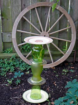 Finished birdbath green