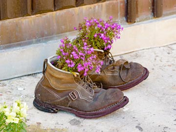 Upcycled boot planter